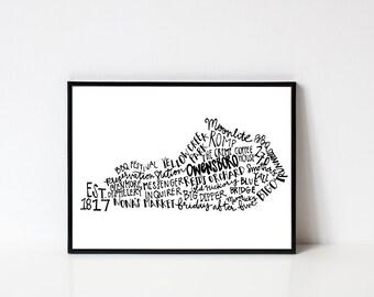 Hand lettered OWENSBORO Kentucky Word Art Print // 8x10