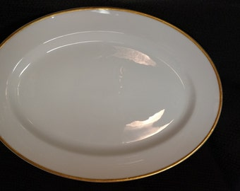 HAVILAND Oval Serving Platter with Gold Edge