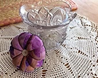 Tiny pincushion sewing kit in vintage toy glass sugar Whirligig pressed glass pattern