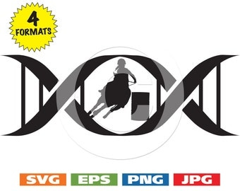 In My DNA Female Barrel Racer with Helmet in a DNA Symbol - svg cutting files PLUS eps/vector, jpg, png - 300dpi