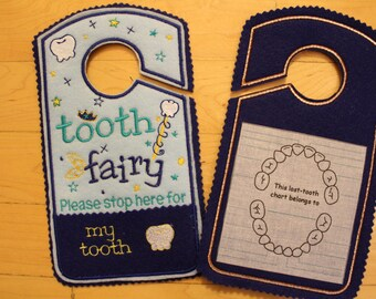 Tooth Fairy please stop here Door Hanger, tooth chart, Pocket, Tooth Fairy Pillow Alternative, boy, girls, orange, navy, Canada.