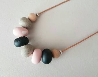 Clay necklace - Pink charcoal and granite clay beaded necklace/ polymer clay jewellery/ beaded necklace /  birthday gift/ pink and grey