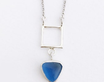 Square silver pendant with triangle blue glass on silver chain