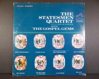 "Statesmen Quartet, Hovie Lister ""The Gospel Gems"" 1966 vinyl album / RCA Victor LSP 3624 / Frank Cutshall / Eldridge Fox / Calvin Runion"