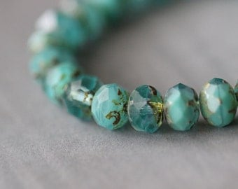 Bali Blue, 9x6mm (10) Turquoise and Aquamarine with Picasso, Czech, Glass, Faceted, Rondelle, Beads, 10 pieces