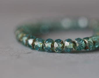 3x5mm, (30) Rondelles, Aqua Crystal, Picasso,Transparent, Czech Glass Beads, Faceted, Beads, 30 pieces, Full Strand, Stone Creek