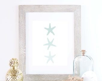 Starfish Artwork, Mint Wall Decor, Printable Download, Instant Printable, Beach House Decor Coastal Art Print, Printable Decor, Mint Nursery