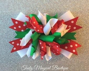 Christmas Hair Bow | Christmas Bow | Holiday Hair Bow | Holiday Bow | Christmas Hair Clip | Holiday Hair Clip | Christmas Korker Bow