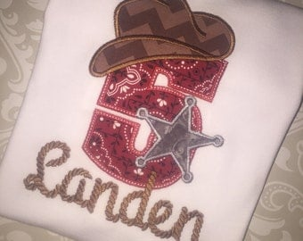 Cowboy applique monogram birthday tee shirt, boys cowboy birthday shirt, rodeo birthday shirt, western birthday shirt, sheriff birthday boy