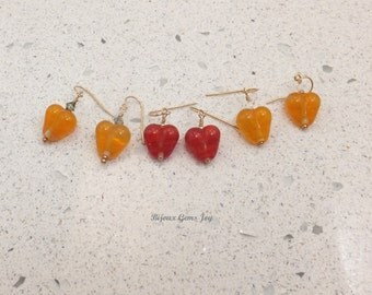Earrings, My Heart, Lampwork Glass, Swarovski Crystals, 14 Kt Gold Filled Wires E17013-17015