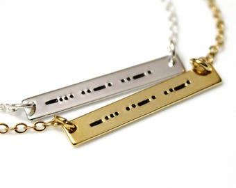Niece Morse Code Best Friends Forever, Morse Code Necklace, Morse Code Jewelry, Silver Bar Necklace, Niece Necklace, Bridesmaid Gift