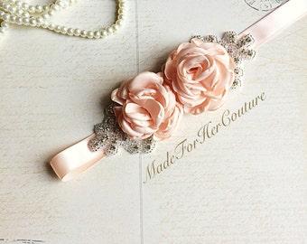 Peach Bridal Sash/Belt, Peach Flower Sash, Flower girl Sash, flower girl belt, Rustic Sash, Wedding Sash, wedding belt,  bridal sash/belt,