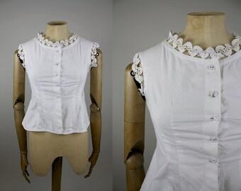 Victorian Cotton Camisole / Edwardian Corset Cover / Size Small / White Cotton and Lace / Victorian Undergarment / XXS XS S