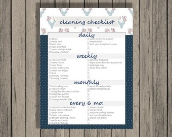 Cleaning checklist printable - daily, weekly, monthly, and every 6 months cleaning checklist.  Hearts Design.  Spring Cleaning Checklist.