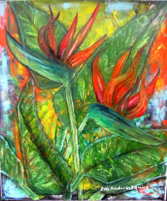 Strelitzia. Oil paiting, impasto oil, palette knife painting, canvas oil, original painting oil, handmade painting, original art, art,