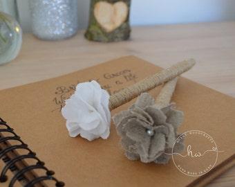 Rustic wedding guest book pen, Rustic pen, Guest book pen, Twine pen, Linen flower pen, Barn wedding ideas.