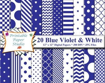 Blue Violet Digital Paper Pack, Blue Paper for Card making, Blue Colored Paper 12x12, Blue Patterned Paper, Instant Download Digital File