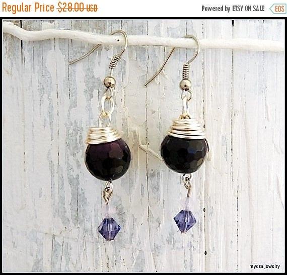 Free Shipping - Purple drop earrings, Statement Earrings, Lilac Dangle Earrings, Cute Small Earrings, Dark Purple Earrings, Womens Ball Earr