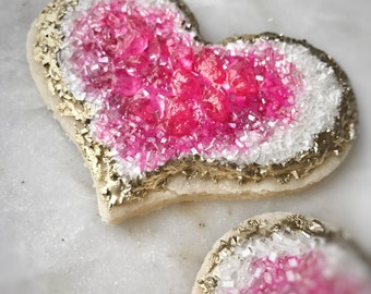 Geode heart cookies