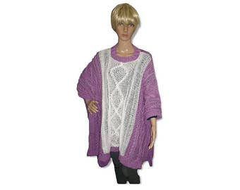 PDF Knitting Pattern Cable Poncho, knitting supply, Sweater Poncho, Knit Instruction for Blanket Poncho,  Knit Heart Cables Diamond Brocade