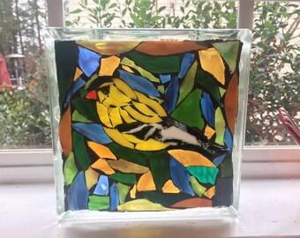Golden Finch Glass Mosaic