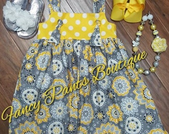Gray and Yellow Tie knott Dress