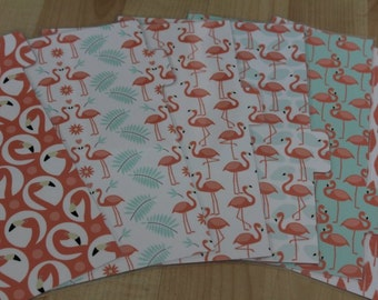 A5 /Large size Planner Dividers - Mint & Coral Flamingo Print. Set of 6