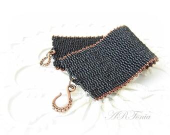Matte black Peyote bracelet, beaded bracelet, beadwork, handmade bracelet, beaded jewelry, gift for you