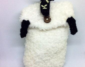 Sheep nintendo case with handy games pocket, case for nintendo, fluffy nintendo case, ds case, NINTENDO POUCH, nintendo, DSI case, 3DS case,