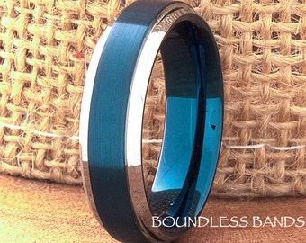 Tungsten Wedding Band Blue and White Stepped Tungsten Band Ring 6mm Mens Womens Tungsten Ring Anniversary Promise His Hers Comfort Fit New
