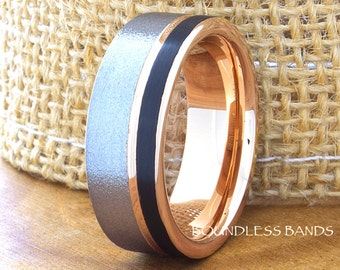 Tungsten Ring Tungsten Wedding Ring Men Women Wedding Bands Promise Anniversary Engagement 8mm Tricolor Black Rose Gray Matching Ring Set