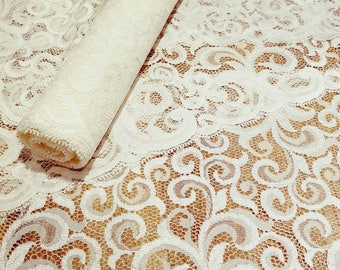French vintage lace trim wide lace trim 7 inches wide x 5 metres in length . Ivory lace trim