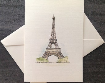 Watercolour card set.  Eiffel Tower, Paris card.   Free shipping to Canada/US!  Textured linen greeting cards. Set of 8 or 25.