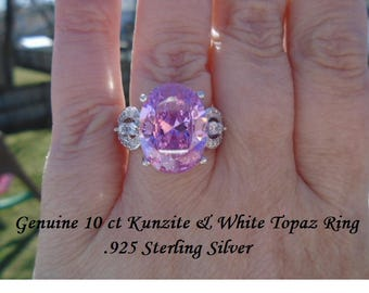 Genuine 10 ct Kunzite & White Topaz Ring Size 7 Or 8