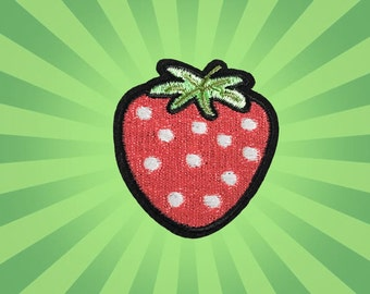 Strawberry Iron on Patch(M)-Strawberry Applique Embroidered Iron on Patch -Size4.7x5.5 cm
