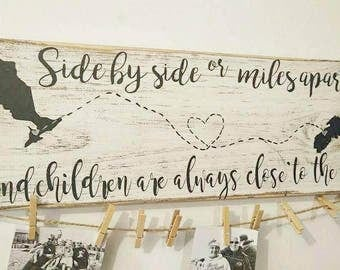 Grandparents gift, brag board photo display, miles apart always close to the heart, personalized ,Wooden Sign, Hand Painted, Home Decor