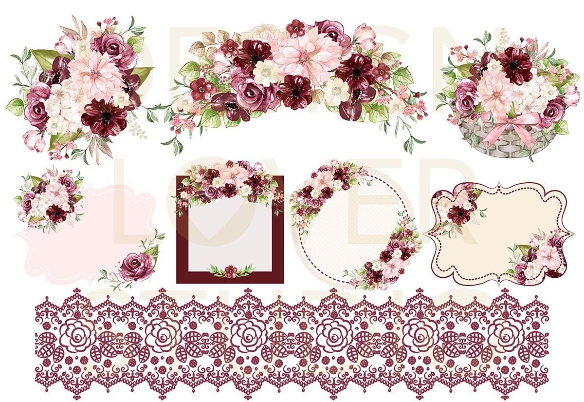 Watercolor BURGUNDY DREAMS Design Spring Watercolor Flower Pink Blush Floral Clipart Wedding