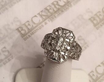 Reserved for Megan Ryan-Spofford 1 of 2 14k white gold 19 Diamond Filigree Octangular Shield Ring .38 tw JK-SI2-I1 size 8.25