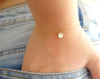 Dainty Initial Bracelet, Delicate Personalized Disk Bracelet, Tiny Disc in 14k Gold Fill, Sterling or Rose Gold