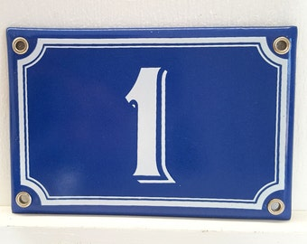 Vintage French enamel HOUSE NUMBER SIGN 1 Blue and white