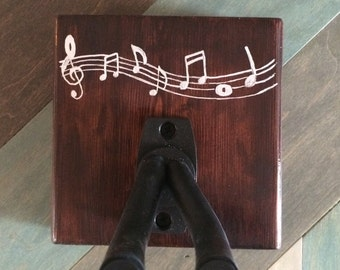 Wooden Ukulele (guitar, banjo) Hanger with music notes - single