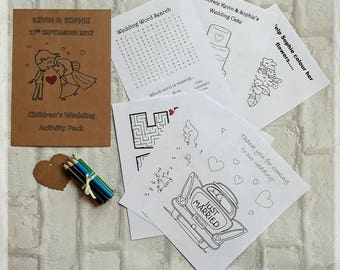 Childrens wedding party activity pack colouring sheets wedding favour