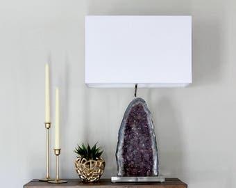 Amethyst Cathedral Geode Table Lamp // Designer Mineral Specimen Table Lamp (L11)