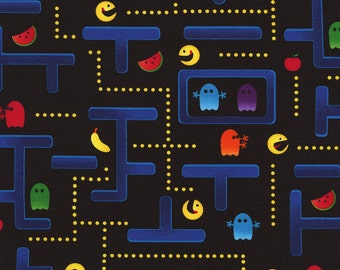 Pacman Fabric / Pocket Arcade / Pacman on Blue / Timeless Treasures c2409 /By The Yard / Cotton Fabric