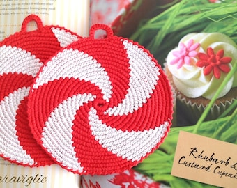 Crochet Potholders, Crocheted Potholders, Red Potholders, Kitchen Decor, Red Hot Pads