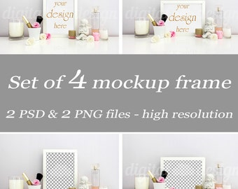 Makeup Fashion Feminine Desktop Mockup Set Styled Stock Photography Download Frame Bundle Empty Art Frame Product Digital Background Object