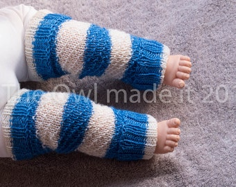 Baby leg warmers Toddler leg warmers Baby girl Baby boy Toddler gift Kids winter Kidswear knit Blue white stripes UK seller Ready to ship