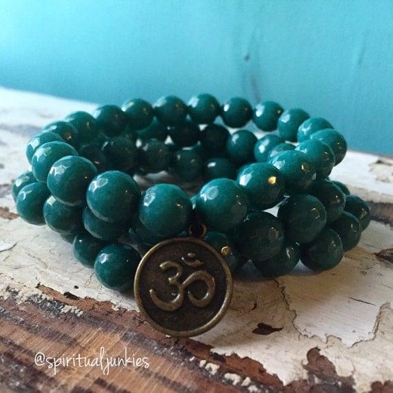 Stackable Funky Chunky 10 mm Mala Inspired Teal Jade + Om and Meditation Bracelet (Single Bracelet)
