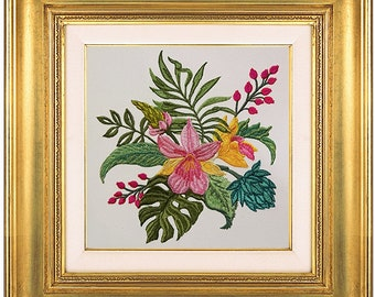 Machine Embroidery Design Tropical bouquet of orchids