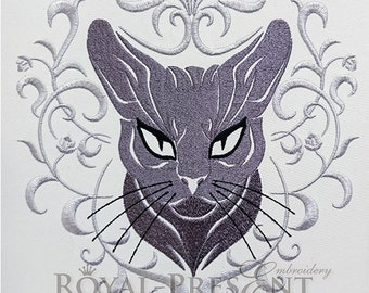 Machine Embroidery Design Gray cat face